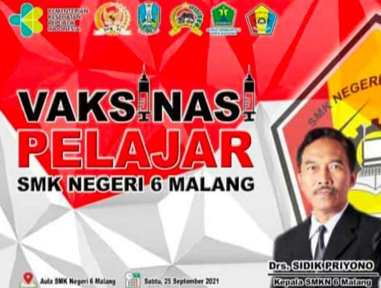 Vaksinasi Pelajar SMK Negeri 6 Malang